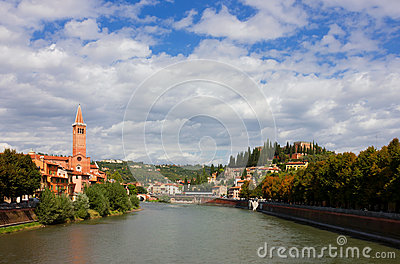 Verona Adige River view Toward Castel San Pietro