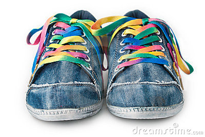 Bright colorful sneakers isolated on white