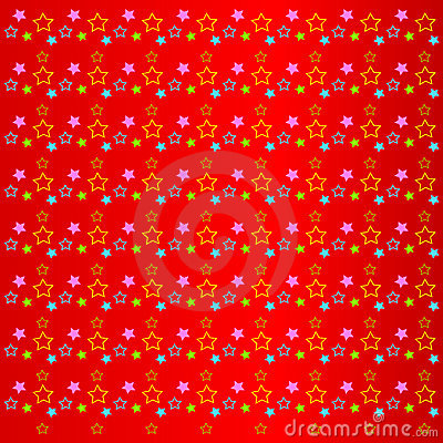 Bright colorful stars on a red background