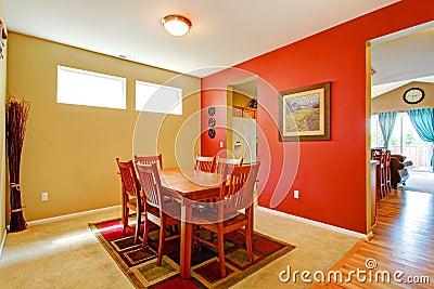 Bright contrast dining room interior