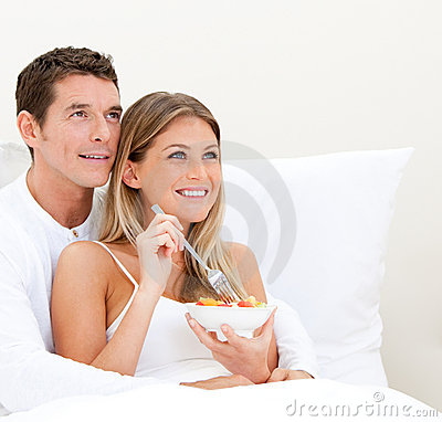 Free Bright Couple Having Breakfast Royalty Free Stock Photography - 14366217