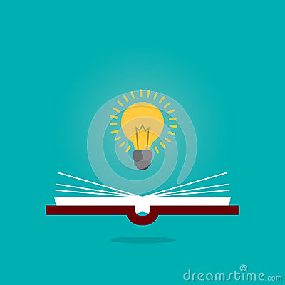 Bright creative idea light bulb over open book, Think idea concept, Flat style illustration. Stock Photo