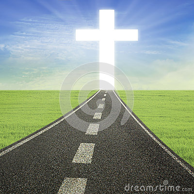 Bright Cross on the road