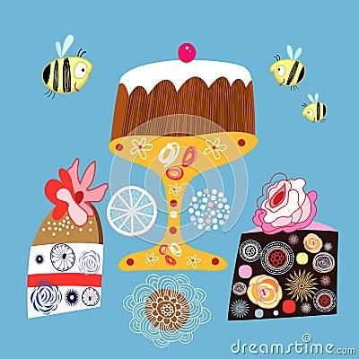 Bright decorative cakes