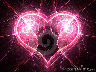 Bright electric current heart on black background