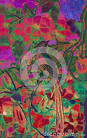 Bright Exotic Bird Illustration