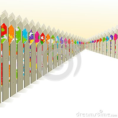 Bright fence among the gray.