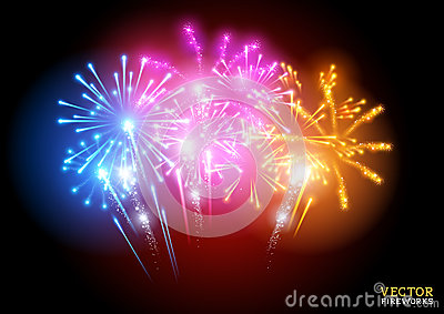 Bright Fireworks Display Vector