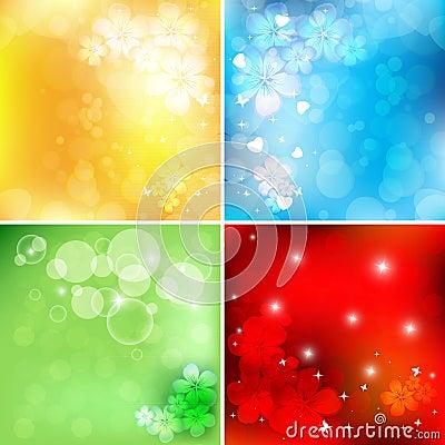 Bright floral vector set
