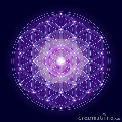 Free Bright Flower Of Life With Stars Royalty Free Stock Photos - 52135698