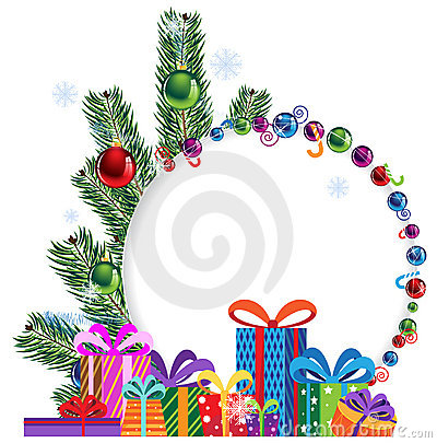 Bright gifts and Christmas tree