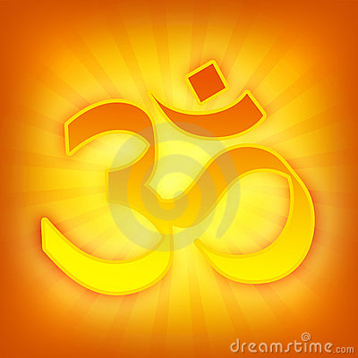 Bright golden OM symbol