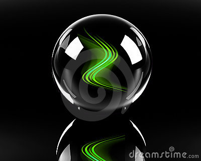 Bright green abstract waves in the glass sphere