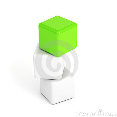 Bright green box leadership concept