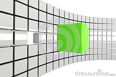 Bright green cube concept