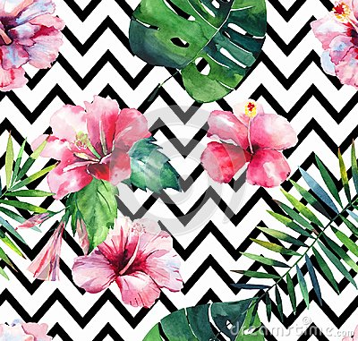 Free Bright Green Herbal Tropical Hawaii Floral Summer Pattern Of A Tropic Palm Leaves And Tropic Pink Red Violet Blue Flowers Stock Photos - 118810073