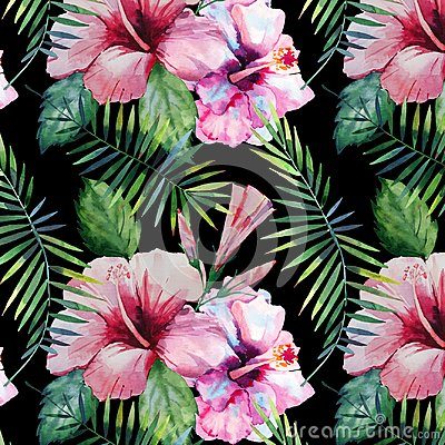 Free Bright Green Herbal Tropical Hawaii Floral Summer Pattern Of A Tropic Palm Leaves And Tropic Pink Red Violet Blue Flowers Hibiscus Royalty Free Stock Photography - 119656797