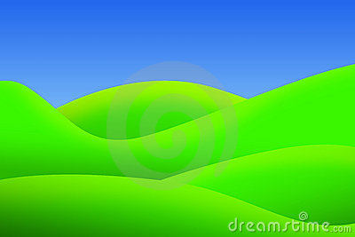 Bright green meadows and clear sky in summer