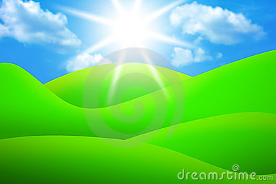 Bright green meadows, sky and sun