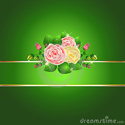Bright green roses card