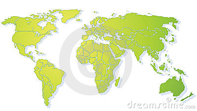 Bright green shiny World map