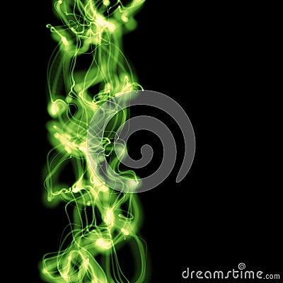 Bright green smoke