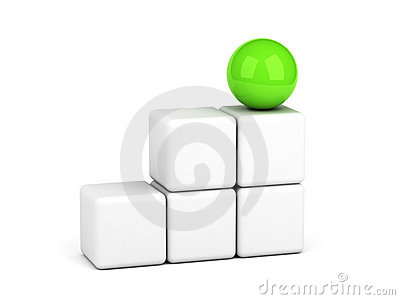 Bright green sphere leadership concept