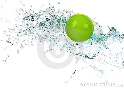 Bright green sphere in water splash