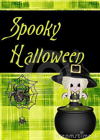 Bright Green Spooky Halloween Background
