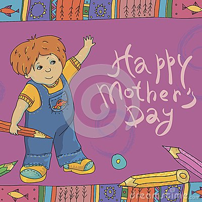 Bright hand drawn card for Mother s Day