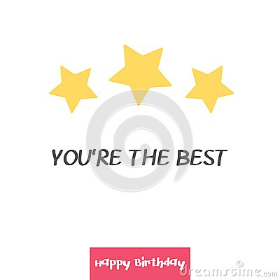 Free Bright Happy Birthday Greeting Card In Minimalist Style. Modern Birthday Badge Or Label With Wish Message You`re The Stock Image - 111005071