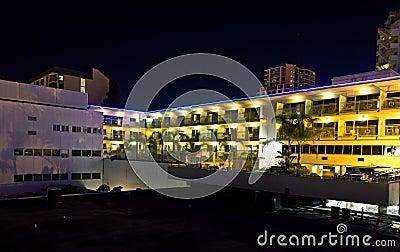 Bright Hotel Complex At Night
