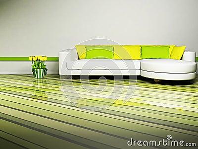 Bright interior design of living room