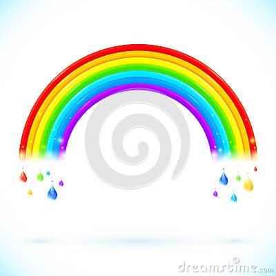 Free Bright Isolated Vector Rainbows With Color Drops Stock Photo - 34965050