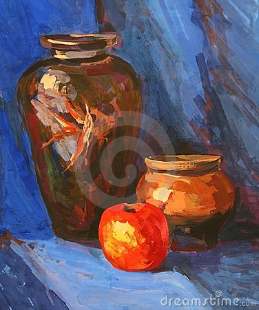 Bright juicy still-life. Drawing academic