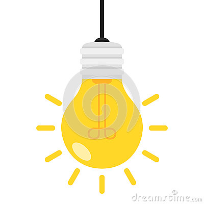 Bright Light Bulb Flat Icon Isolated on White Vector Illustration
