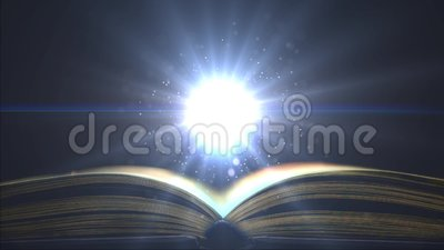 Bright light in education. Fantastic particles hover over the book. Place for sign. Fantastic particles hover over the book. Place for sign. Bright light in stock video footage
