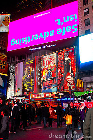 Bright Lights of Times Square, NYC. Editorial Stock Image