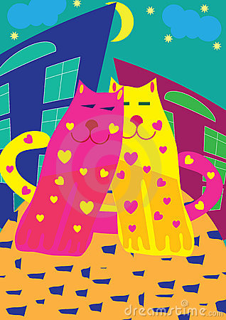 Bright love cats