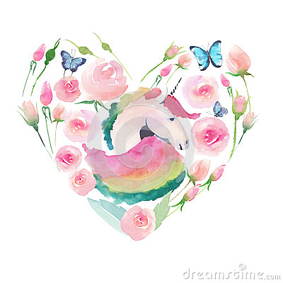 Free Bright Lovely Cute Fairy Magical Colorful Heart Of Unicorn With Spring Pastel Cute Beautiful Flowers Royalty Free Stock Images - 93090679