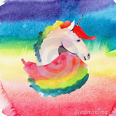 Free Bright Lovely Cute Fairy Magical Colorful Portrait Of Unicorn On Pink And Red On Watercolor Rainbow Background. Watercolor Hand Sk Royalty Free Stock Photo - 92983925
