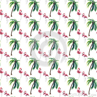 Free Bright Lovely Tender Gentle Sophisticated Wonderful Tropical Hawaii Summer Pattern Of Green Palm Tree And Pink Flamingos Watercolo Stock Photo - 95154270