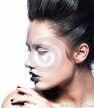 Bright make up - fashion beauty woman face