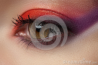 Bright modern eye make-up. Beautiful female eye