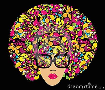 Bright multi-coloured fashion illustration.