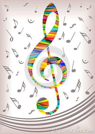 Free Bright Music Clef And Notes Silhouettes Royalty Free Stock Image - 57406446