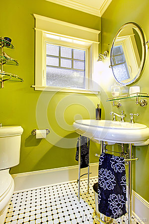 Bright neon green bathroom