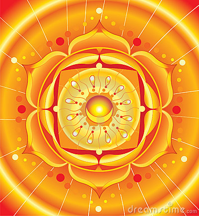 Bright orange mandala of svadhisthana chakra