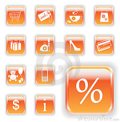Bright Orange Shopping Buttons