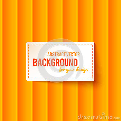 Bright orange stripes background with label